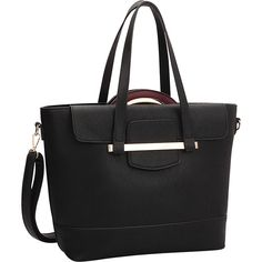 Dasein 2 in 1 Combination Mini Satchel and Tote - Black/Wine -... ($46) ❤ liked on Polyvore featuring bags, handbags, tote bags, black, faux leather tote bag, vegan leather tote, faux leather satchel, wine tote bag and wine tote