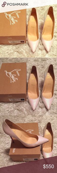 Christian Louboutin décolleté glitter pumps Gently worn Christian Louboutin glacier glitter pumps. Soles recently replaced. Comes in original box with dust bags. Christian Louboutin Shoes Heels