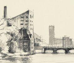 Schilling's Bridge over the Spree Berlin. PRINT of by CATILUSTRE