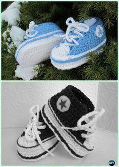 Crochet Baby Converse Sneaker Booties Free Pattern - #Crochet Baby Booties Slippers Free Pattern