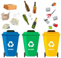 Set of different trash bin Royalty Free Vector Image Cutting Activities, Science Activities, Activities For Kids, Art Drawings For Kids, Art For Kids, Crafts For Kids, Garbage Recycling, Recycling Bins, Hand Washing Poster