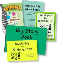 "MUSICPLAY FOR KINDERGARTEN COMPLETE SET -  Teacher's Guide & 6 CDs in a 3-ring binder.  Big Music book illustrates the concepts in class-sized format.11"" x 17"". Spiral Paperback.  Big Storybook has 21 songs the whole class can read. 11"" x 17"". Spiral Paperback.  Reproducible Song Stories are mini storybooks of 15 of the songs to make and take home.  Piano Accompaniments 260 pp. Spiral Paperback."