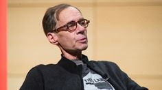 New York Times columnist David Carr is shown at an event on Thursday evening, just hours before he collapsed in the newspaper's newsroom and died.