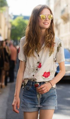 When in doubt, go for your favorite cutoffs and a fun pair of sunglasses for a stylish summer look.