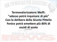 """AMBIENTE Termovalorizzatore Melfi: """"adesso potrà inquinare di più"""" Con la delibera della Giunta Pittella Fenice potrà emettere più 80% di ossidi di azoto di Redazione Basilicata24  Facebookdel.icio.usMySpaceTwitter Termovalorizzatore Melfi: """"adesso potrà inquinare di più"""""""