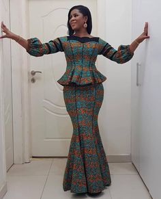 Pin by Loriani Lori on Ankara in 2019 African Lace Dresses, Ankara Dress Styles, African Dresses For Women, African Attire, African Wear, African Women, African Fashion Ankara, African Print Fashion, African Print Dress Designs