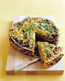 Tortilla and Black Bean Pie Recipe - I've made this before. Laugh all you want at tortilla pie, it's delicious! And anything that gets a picky eater to eat vegetables is okay by me. Make it corn tortillas and do gluten free! Think Food, I Love Food, Food For Thought, Good Food, Yummy Food, Tasty, Mexican Food Recipes, Vegetarian Recipes, Cooking Recipes