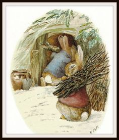 """glyniscordelia: pagewoman: Peter Rabbit and Benjamin Bunny by Beatrix Potter """"Preparing for cold weather"""" Carrying bundles of sticks. Sort of my thing, lately. Coelho Peter, Beatrix Potter Illustrations, Susan Wheeler, Beatrice Potter, Peter Rabbit And Friends, Drawing Faces, Drawings, Benjamin Bunny, Children's Book Illustration"""