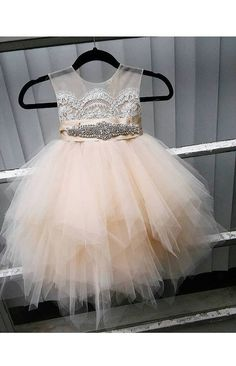 Scoop Champagne Lace Tulle Floor-length Flower Girl Dress