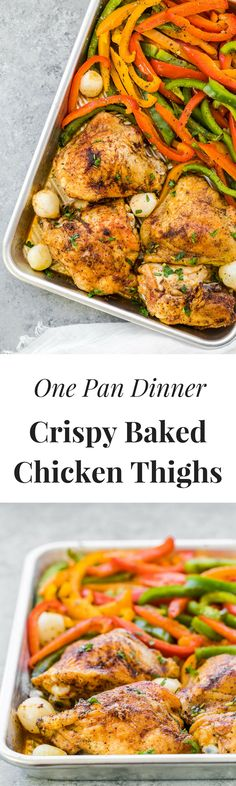 one pan chicken and veggies, easy baked chicken thighs. Easy chicken recipes, crispy and tender chicken thighs, baked in oven with veggies.  via @thedealmatch