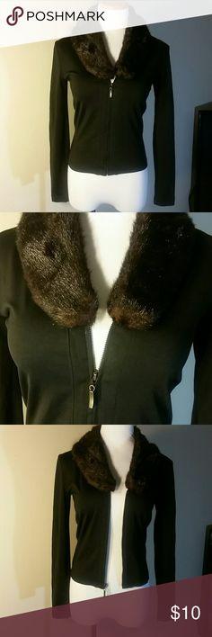 Cute Jacket Cute zipper up jacket with brown faux fur collar Bisou Bisou Jackets & Coats Blazers