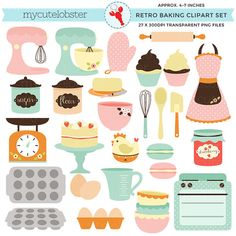 Retro Baking Clipart Set  clip art set of by mycutelobsterdesigns