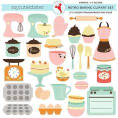 Retro Baking Clipart Set clip art set of by mycutelobsterdesigns