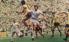 England 1 Romania 0 in 1970 in Guadalajara. Geoff Hurst leads the England attack in Group 3 at the World Cup Finals.
