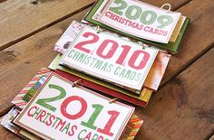 Christmas card books...we all spend the money on them, why not keep them and display around the holidays for a flashback laugh --- so cute