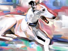 GREYHOUND portrait original art painting CANVAS GICLEE PRINT (Large)
