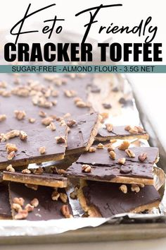 Keto Christmas Crack Think you need to miss out on cracker toffee? Think again! This keto-friendly cracker toffee is made with homemade crackers and features sugar-free toffee and chocolate. A delicious low carb holiday indulgence. Low Carb Candy, Keto Candy, Low Carb Sweets, Low Carb Desserts, Low Carb Recipes, Flour Recipes, Vegan Recipes, Junk Food, Biscuits Au Caramel