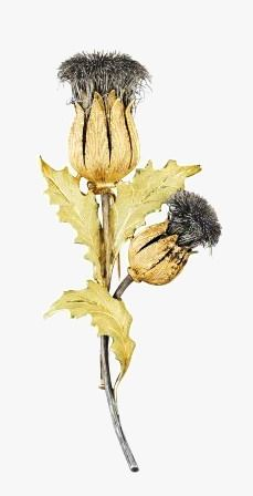 PHILLIPS : NY060213, Buccellati, A Gold Thistle Brooch Designed as a spray of two thistles enhanced by textured sepals, stems, and extending three similarly textured leaves, mounted in 18K yellow gold, length 3 1/2 inches. Signed 'M.Buccellati'