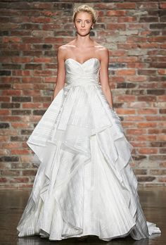 "Hayley Paige - Spring 2014. Style 6403, ""Marlowe"" ivory plaid dupioni natural waist ball gown wedding dress with sweetheart neckline, cummerbund at the natural waist, tulle and plaid flounced skirt, chapel train, Hayley Paige"