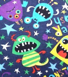 Fashion Flannel Glow in the Dark Fabric Monster Smash
