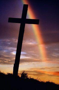 Rainbow - Cross in Knockmealdown Mountain County, Ireland -  by Richard Cummins