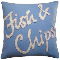 Fish and chips throw pillow - so fun! #cushions #pillows #British #UK #anglophile
