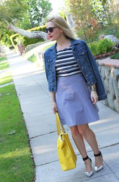 #Letote Striped Top, #AmericanApparel Skirt, #PaperDenim&Cloth Jacket