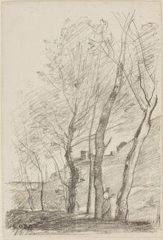 Jean-Baptiste-Camille Corot (1796-1875) - Reading Beneath the Trees, 1874