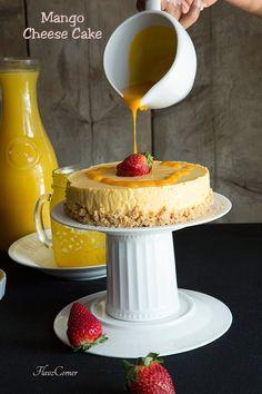 Easy Eggless No Bake Mango Cheese Cake
