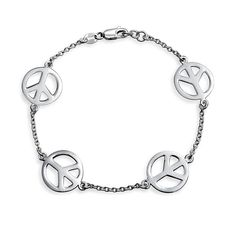 Bling Jewelry 925 Sterling Silver Peace Sign Bracelet 7.5in ** More info could be found at the image url.