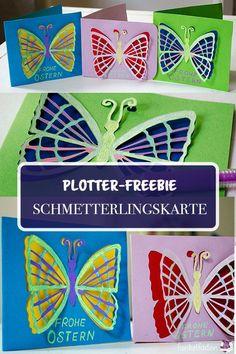 Plotter-Freebie als svg für eine Osterkarte mit Schmetterling. Auch ohne Plotter kann man die Karte natürlich als jpg ausdrucken und ausscheiden.