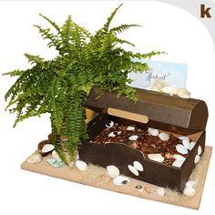 Präsenttruhe im Holzdesign - Material: EE-Welle braun (~ 3 mm) - 338 x 220 x 190 mm - zum Verschenken, für feierliche Anlässe mit vorgestanzter Einlage für Wein- oder Sektflasche - einfaches öffnen und wieder verschließen