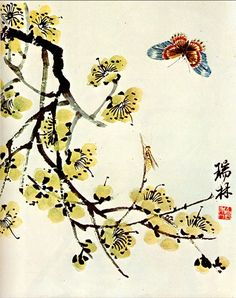 """""""Butterfly and flowering plum"""" by Qi Baishi (Chinese), 1935"""