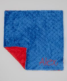 Take a look at this Red & Electric Blue Personalized Security Blanket by Lolly Gags on #zulily today!