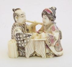 Fine Antique Japanese Ivory Netsuke Couple Seated at a Table. 5.7 x 5cm