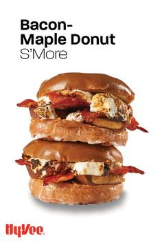 Excessive? Yes. Worth it? Totally. This outrageous take on s'mores uses maple cake donuts from the Hy-Vee Bakery, center-cut crisp-cooked bacon, peanut butter candy cups, and large toasted marshmallows. You might want a friend or 3 to share one with. Find everything you need for this sweet and savory recipe at your local Hy-Vee or shop online at Hy-Vee.com Maple Donuts, Maple Cake, Peanut Butter Candy, Grillin And Chillin, Center Cut, Toasted Marshmallow, Homemade Breakfast, Marshmallows, Summer Fun