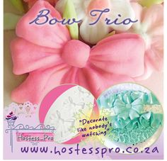 Bow Trio Silicone Mould  Buy Now Online www.hostesspro.co.za Follow up on Facebook https://www.facebook.com/hostesspro.co.za #‎siliconemoulds‬ ‪#‎cakedecorating‬ ‪#‎sugarcraft‬ ‪#‎hostessprosugarcraft‬