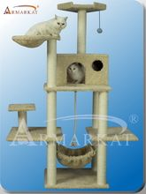Armarkat A6901 Classic Cat Tree has an ultra thick beige color faux fur covering. Armarkat's A6901 cat tree features a cat condo, 2 high perches and a hammock for your cat to lounge and take afternoon naps. With its multiple levels and platforms this cat furniture will satisfy your finicky feline. 2 top cat perches 1 cat condo Easy assembly using step by step instructions & tools 69 inches tall Low center of gravity Modern design compliments any home