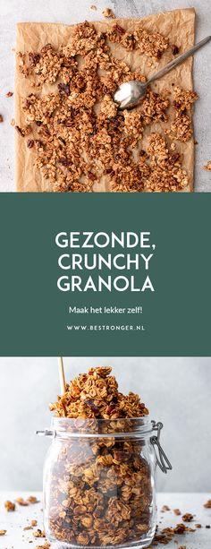 Healthy Breakfast Recipes, Healthy Snacks, Healthy Eating, Healthy Recipes, Crunchy Granola, Baked Oats, Muesli, Veggie Recipes, Food To Make