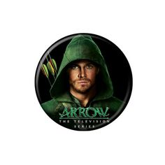 Oliver Queen is The Arrow and this is the best superhero TV series right now. Enjoy this button, showing Oliver Queen (Stephen Amell) with his hood over his head. - Size: 1.25 inches in diameter - Gre
