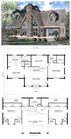 House Plan 61105 | Total living area: 2402 sq ft, 3 bedrooms & 2.5 bathrooms. Any mountain or flat land would feel honored to have this gorgeous log home plan placed on it. #houseplan #aframe