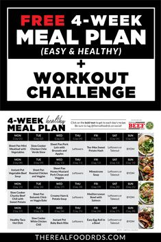To help you start the year off right we've created a free 4-Week Healthy Meal Plan!! A full 4-week healthy meal plan PLUS grocery list to make it as easy as possible for you! PLUS to make it even better, we've teamed up with our favorite fitness trainer who put together a 4-Week Workout Challenge that includes a new workout for each day (minimal equipment needed, less than 45 minutes!), full-length videos and workouts that can be completed in the comfort of your own home! Meal Prep Menu, Easy Meal Prep, Healthy Eating Meal Plan, Clean Eating Recipes, Week Workout, Workout Challenge, Lunch Snacks, Lunches, Sweet Kale Salad