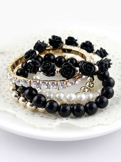 Black Gold Multilayer Bead Flower Bracelet US$6.82