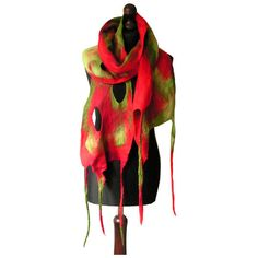 Felted scarf felt scarf felted collar red green felt scarf boho spring... ($72) ❤ liked on Polyvore featuring accessories