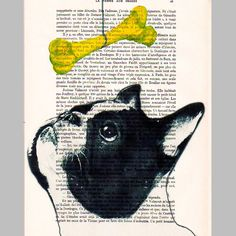 French bulldog with yellow pop-art bone - ORIGINAL ARTWORK Hand Painted Mixed Media on 1920 Parisien Magazine 'La Petit Illustration'. $10.00, via Etsy.
