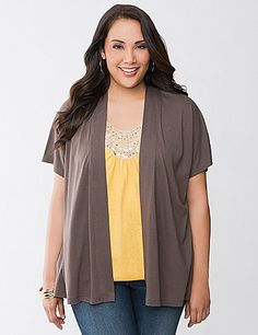 Short sleeve knit open cardigan lets you keep your trendy layered look throughout the warmer months with our Fun & Flirty modal blend. Detailed with a banded, open placket and smocked back accent to flatter your shape. Endless style options with all the season's best-loved colors. lanebryant.com