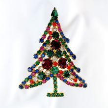 Christmas Tree Rhinestone Brooch Multicolor Huge Unsigned Vintage