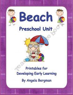 Beach Preschool Unit: Printables for developing early learning pages). Beach Theme Preschool, Summer Preschool Activities, Preschool Curriculum, Preschool Classroom, Preschool Learning, Early Learning, Preschool Crafts, Learning Activities, Kids Learning