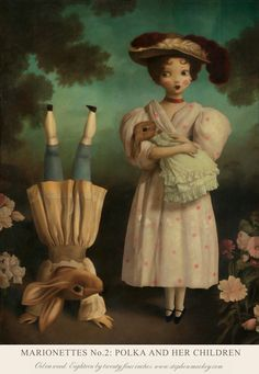Marionette Polka And Her Children ~ Stephen Mackey Stephen Mackey, Lowbrow Art, Pop Surrealism, Arte Pop, Weird Art, Surreal Art, Dark Art, Painting & Drawing, Drawing Tips