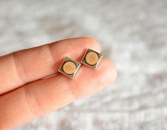 Square stud earrings wood and silver studs unique by MyPieceOfWood